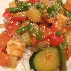 Sweet and Sour Tofu Veggies - #tofu #eztofupress