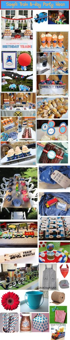 Tons of ideas for train theme party {need to remember the black licorice & kitkat bars to make track!}