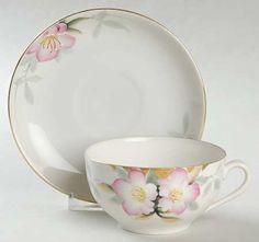 Flat Cup & Saucer Set in the Azalea pattern by Noritake