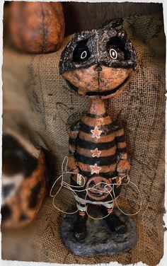 Gourdy the Trick or Treater  Primitive Folk Art by OctoberRds, $92.00