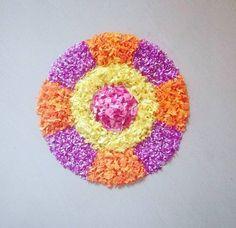 Easy Rangoli Designs Videos, Indian Rangoli Designs, Simple Rangoli Designs Images, Rangoli Designs Flower, Small Rangoli Design, Rangoli Ideas, Colorful Rangoli Designs, Flower Rangoli, Beautiful Rangoli Designs
