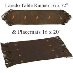 Laredo western table runner and placemats will bring the true spirit of the west to your western dining or kitchen table. Choose either brown faux leather or rich black micro suede with embroidered stars and western fringe trim.  The table runners are reversible to a tan micro suede for a double look.  Add coordinating dinnerware, kitchen accessories and matching valances, drapes, bedding and bath accessories to coordinate your southwestern or western decor.