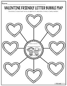 Emily Jane Creates: VALENTINES WRITING FREEBIE Friendly Letter, Bubbles, Valentines, Map, Lettering, Writing, Valentine's Day Diy, Location Map, Drawing Letters