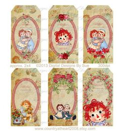 Label for sale Decoupage Printables, Raggedy Ann And Andy, Holly Hobbie, Paper Tags, Digital Collage, Digital Form, Digital Papers, Vintage Tags, Shabby