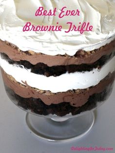 "Best Ever Brownie Trifle {brownies, chocolate mousse, Heath Bars and Cool Whip} - this is one of my ""."