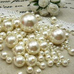 DIY Multi-size optional 3-30mm Ivory Imitation Pearl Beads Acrylic Smooth Round Spacer Beads for Jewelry Making  #Affiliate