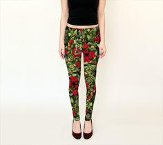 Nature Motif Art Print Leggings  #leggings, #clothing, #fashion, #print leggings, #art print leggings, #fancy leggings, #modern leggings, #unique leggings, #fantasy leggings, #women leggings, #hipster leggings, #nature motif leggings, #floral leggings, #red and #green leggings, #jungle