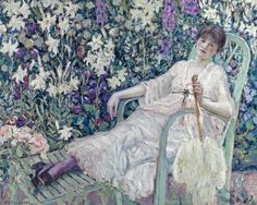 Frederick Carl Frieseke (American, 1874-1939); 'The Garden Chair'; signed 'F.C. Frieseke' (lower left); oil on canvas; 28 1/4 x 35 3/4in; Painted by 1912