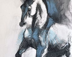 Balance X - Original Black Chalk and Blue Pastel Horse Drawing