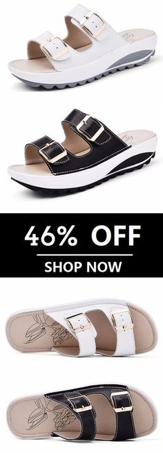 3d49c9ebf SOCOFY Candy Color Leather Buckle Metal Color Match Platform Beach Sandals  Slippers. Worldwide Shipping.
