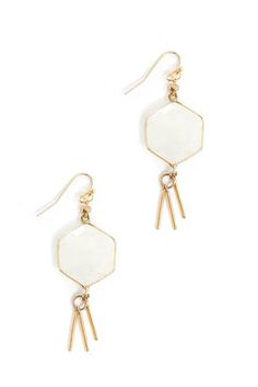 South Moon Under Moonstone Fringe Earrings in WHITE - front view