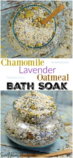 This Chamomile Lavender Oatmeal Bath Soak Recipe uses bath salts and oatmeal for sore muscles and for dry skin. The homemade DIY Chamomile Lavender. Bath Recipes, No Salt Recipes, Tea Recipes, Oatmeal Bath, Bath Salts Recipe, Bath Tea, Milk Bath, Aromatherapy Benefits, Manicure Y Pedicure