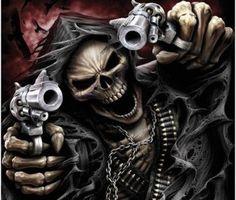 skeleton gun tattoo