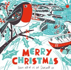 Animated gif of Christmas robin in snowy Charlestown Harbour. By Matt Johnson for Seasalt Cornwall.