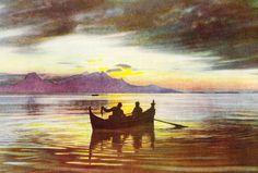 Fiske i solnedgang, med Landego i bakgrunnen Painting, Art, Art Background, Painting Art, Paintings, Kunst, Drawings, Art Education