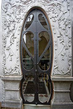 Glass and iron door. Art Nouveau. Tomb door. Recoleta Cemetery. Buenos Aires.   ..rh