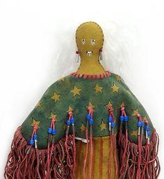 "18"" Ghost Dance Doll w. Stars & Stripes - Head View by artist Michael McLeod #Chippewa #Lakota #PraireEdge"
