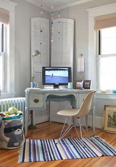 Contemporary home office furniture small desk corner shutters colorful area rug