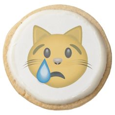 Crying Cat Face Emoji Round Premium Shortbread Cookie
