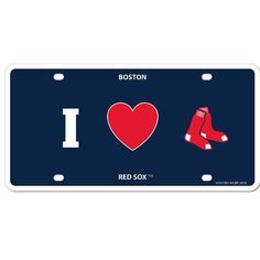 Our Boston Red Sox styrene license plate features a wild flame design around the team logo. The plate comes with 4 suction cups for easy mounting to windows.