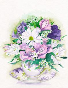 floral teacup Purple www.illustrationbyjoo.com