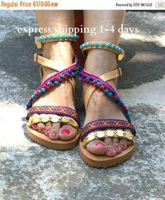 20% OFF boho sandals/ pom pom sandals/ handmade greek sandals/