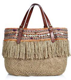 Beach Bag. Fringed & beaded bohemian goodness!