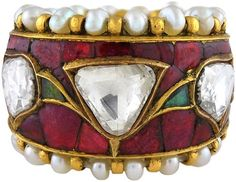 Contemporary Indian Diamond, Rubies, Emerald and Pearl Ring