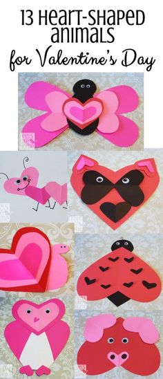 These crafts are so easy and so cute! They would be perfect for preschoolers or even for older kids to make using hearts for Valentine's Day!