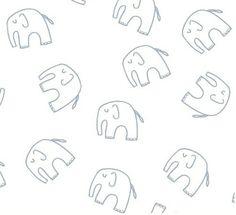 Tissu coton Enfants-Bébés américain - Windham Fabric designer Lotta Jansdotter - Éléphants bleus sur fond blanc