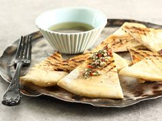 Flat breads with herb dip