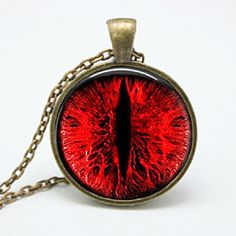 Red Dragon Eye Glass Photo Pendant Gold Necklace Jewelry Lizard Serpent Fantasy Monster by ChicBridalBoutique on Opensky