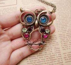 Vintage style colorful Owl charm necklace - thought of   Katie it's $5