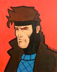 My friend, David Kiester, is a huge Gambit fan so he requested a painting of Gambit.