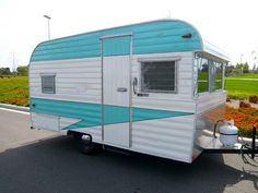 1959 Fireball trailer with a lovely turquoise paint job