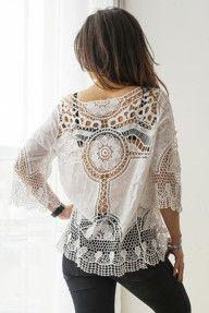 Bawełniana, ażurowa bluzka - biała