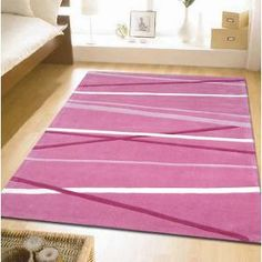 2 X Modern  Striped Rugs Pink 145x75cm