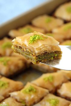 Thirty crisp layers of buttery phyllo and heaps of fragrant pistachios, combine to make an utterly delicious, light yet rich baklava that tastes like it came straight from a Turkish bakery. Plus recipe VIDEO included! Arabic Dessert, Arabic Food, Turkish Dessert, Pistachio Baklava, Middle Eastern Desserts, Ghee Butter, Phyllo Dough, Iftar, Food Processor Recipes