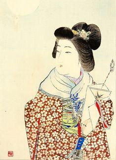 Suzuki Kason (1860-1912) 鈴木華邨 Battledore and Shuttlecock 追羽子、1911