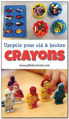 Upcycle your old and broken crayons! This is such a fun way to re-use worn down old crayons that kids don't want to color with anymore. || Gift of Curiosity