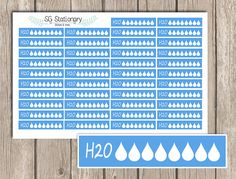 *** DESCRIPTION ***  One 5 x 7 sheet of 42 WATER CHECK LIST Functional planner stickers kiss cut and ready for use. These stickers Functional