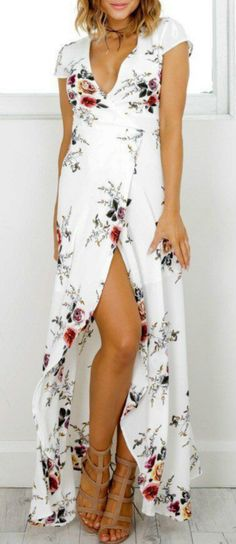Deep V Neck Short Sleeve Floral Printed Split Maxi Dress