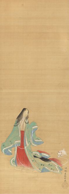 "The Third Princess (女三宮) with a Cat, from ""Wakana I"" (若菜上) chapter of Genji monogatari (源氏物語) - Tsukioka Settei (月岡雪鼎; 1710–1786) Edo period, 18th century"