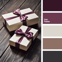 Color Palette #1629 Dark chocolate, gray-brown colour, shade of cocoa with milk, silvery-beige and colour of eggplant. Universal combination of colours for gift wrapping: in a light box, tied with a eggplant or plum coloured ribbon a stylish accessory, fashion sweater or luxurious dress can be presented.