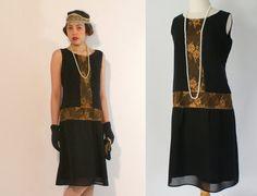 Robe de robe Great Gatsby clapet noire et par HouseOfRecollections