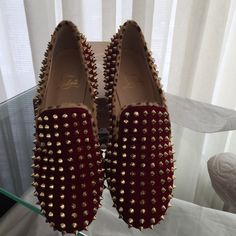 Christian Louboutin rolling spikes jungle  40 EU NIB Christian Louboutin red rolling spikes Velvet/Pony with gold spike studs throughout , cheetan printed pony hair , stackedbheels available in size 40 , size 39 Christian Louboutin Shoes Flats & Loafers