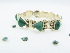 Chunky Bracelet Sterling Bracelet Green by PortalsFromThePast
