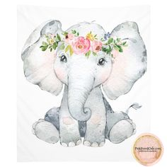 Boho Elephant Nursery Wall Art Tapestry Print Fabric Tapestries Peony Peonies by Pink Forest Cafe Baby Elephant Drawing, Elephant Nursery Girl, Baby Animal Drawings, Elephant Wall Art, Cute Drawings, Watercolor Elephant Tattoos, Elephant Fabric, Cute Baby Elephant, Baby Hippo