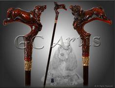 Spaniel Hunting Dog brown designers walking stick cane