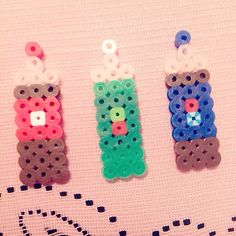 Perler/Hama beads soda bottles keychain/charm using a square grid